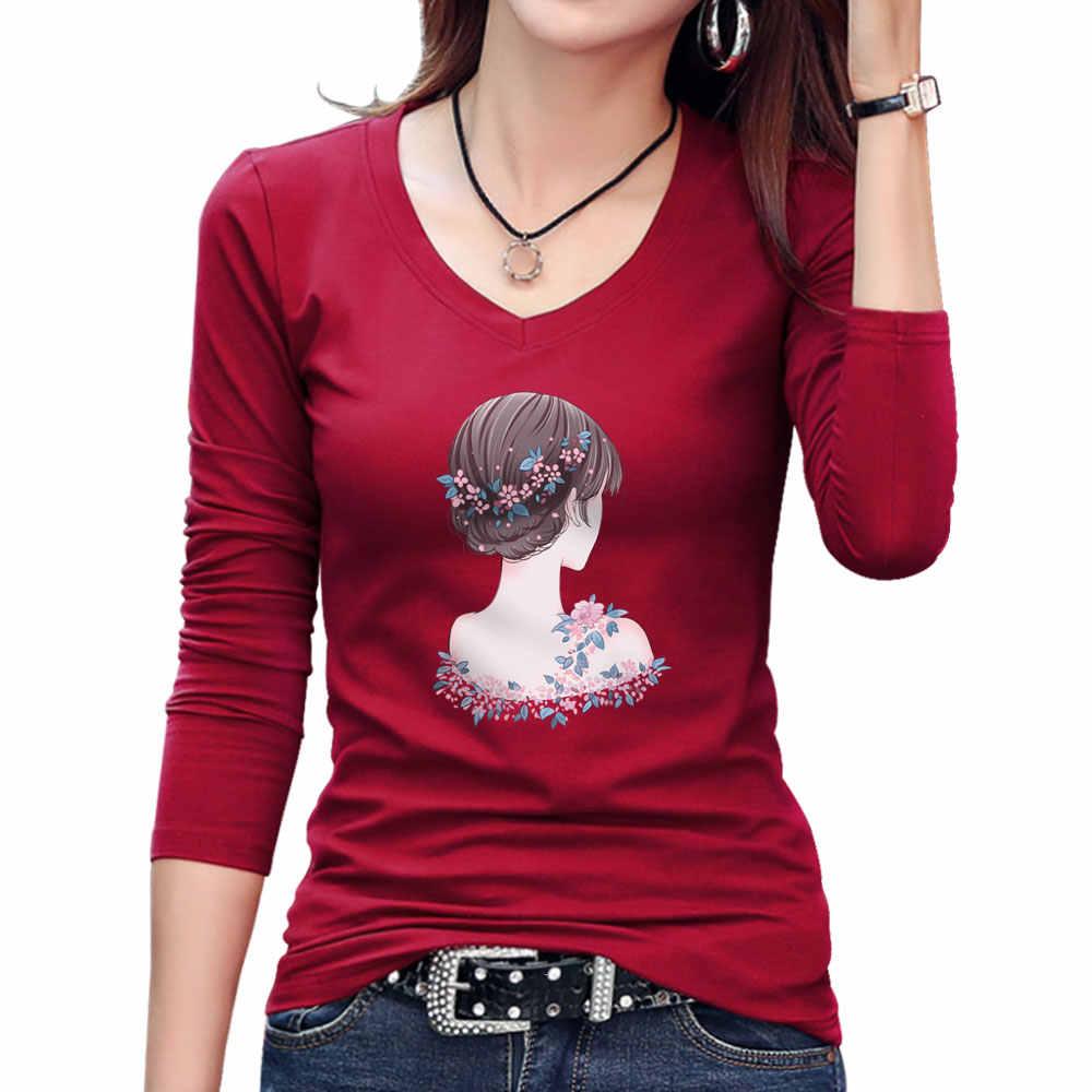 2019 été à manches longues femme T-shirts décontracté col en V coton T-shirts mode belle fille mignonne imprimer t-shirt dames coton T-shirts