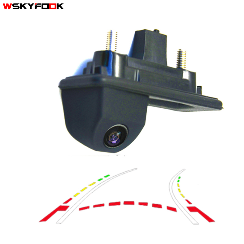 CCD 600Line Dynamic Trajectory Trunk handle Rear View Camera For Audi A1 Skoda Roomster Fabia Octavia Yeti superb backup camera hd ccd night viosn car trunk handle reverse parking rear view camera for audi a1 skoda roomster fabia octavia yeti superb