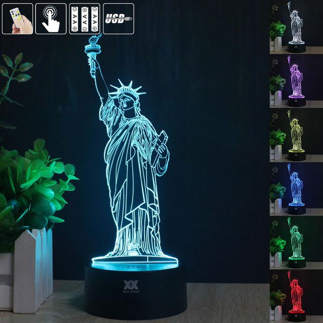 H Y Estatua de la Libertad de La Noche 3D Luz RGB Cambiable Lámpara de estado de Ánimo led lámpara de mesa decorativa de luz dc 5 v usb conseguir un free remote contro