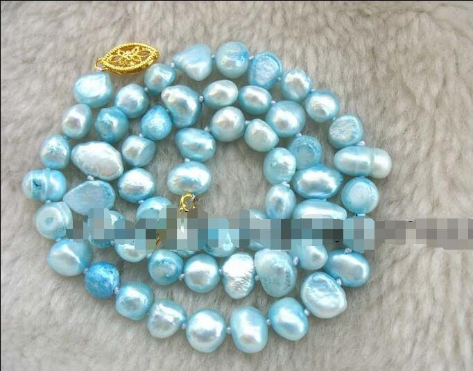 Free Shipping >>>>>freshwater pearl sky blue baroque 8-9mm necklace 16 nature wholesale beads fashFree Shipping >>>>>freshwater pearl sky blue baroque 8-9mm necklace 16 nature wholesale beads fash