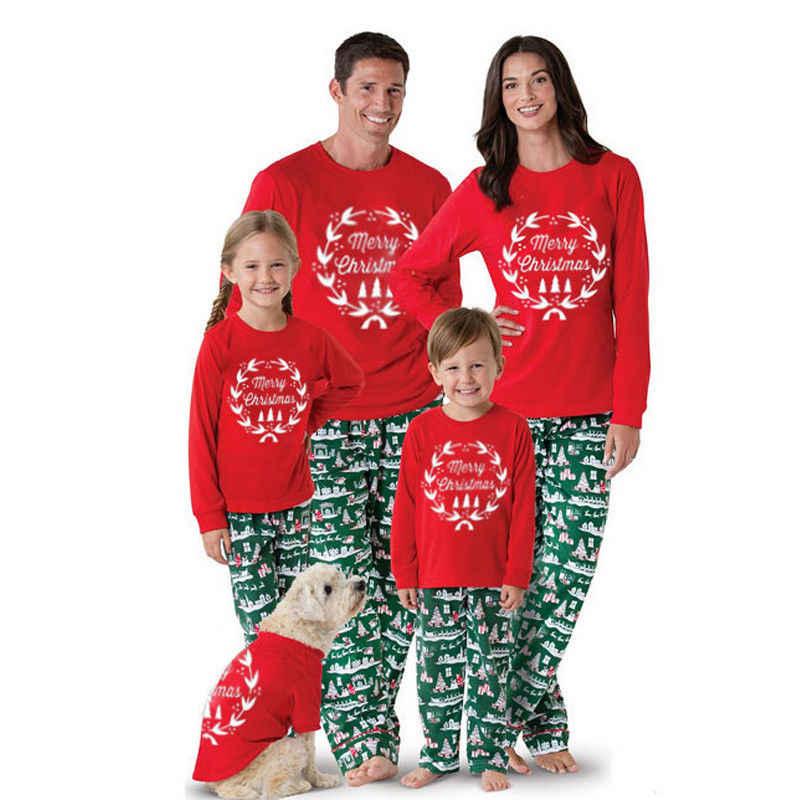 f65bb7aea0 New 2018 Christmas Family Parents Kids Pajama Sets Xmas Nightwear Top Pants Pajamas  Set