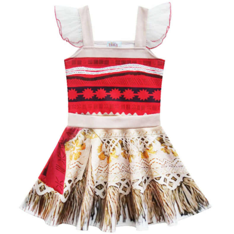 PaMaBa Moana الأميرة الفتيات اللباس تأثيري زي الصيف طفلة ملابس الاطفال Vaiana حزب لوازم مع قلادة مستعار الطوق