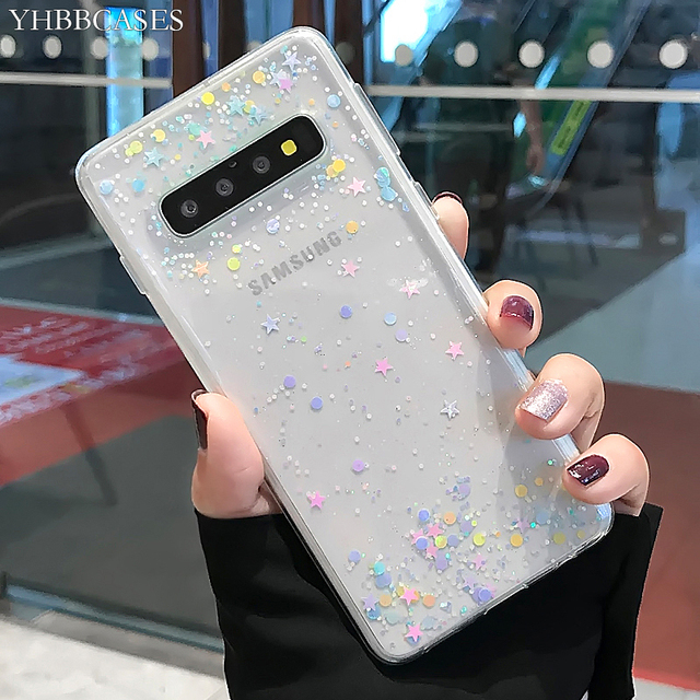 YHBBCASES For Samsung Galaxy S8 S9 S10 Plus Fashion Colorful Bling Paillettes Stars Clear Soft Cover For Samsung Note 8 9 Cases