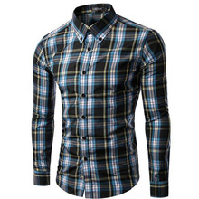 2017 Winter New Arrival Fashion Men Casual Plaid Printed Shirts,Long Sleeve Pure Cotton Comfortable Outdoors Shirts Size S-2XL