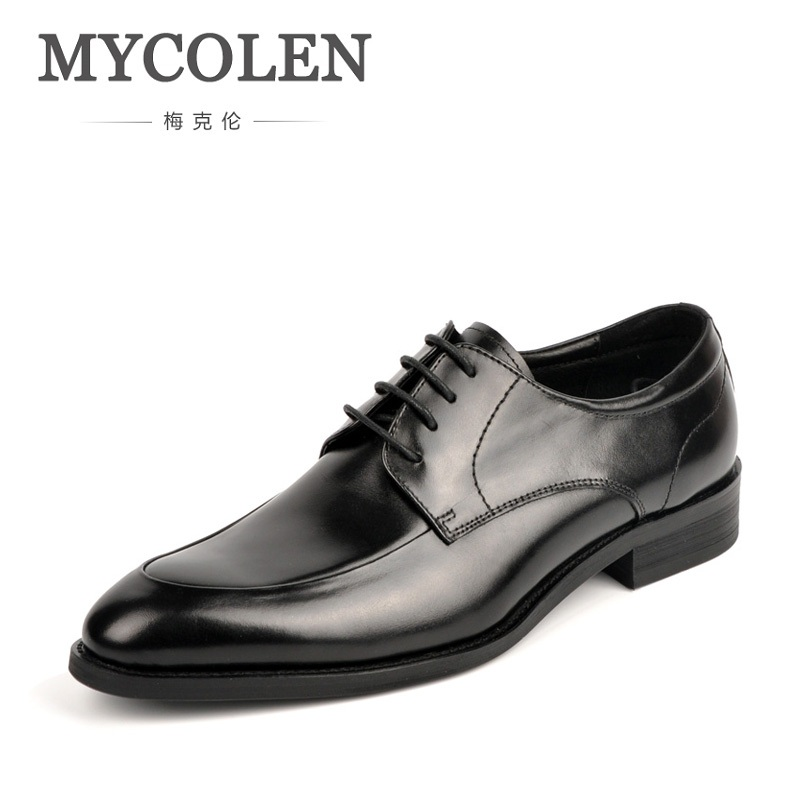 MYCOLEN Fashion British Style High Quality Genuine Leather Men Oxfords Lace-Up Business Men Shoes Wedding Shoes Men Dress Shoes good quality men genuine leather shoes lace up men s oxfords flats wedding black brown formal shoes