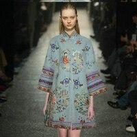 Новый стиль ретро стиль Тяжелая вышивка большой размеры шерстяной свитер пальто женщина