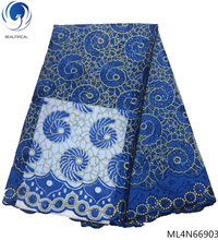 BEAUTIFICAL royal blue african lace fabrics 2019 tulle stones french laces high quality  ML4N669