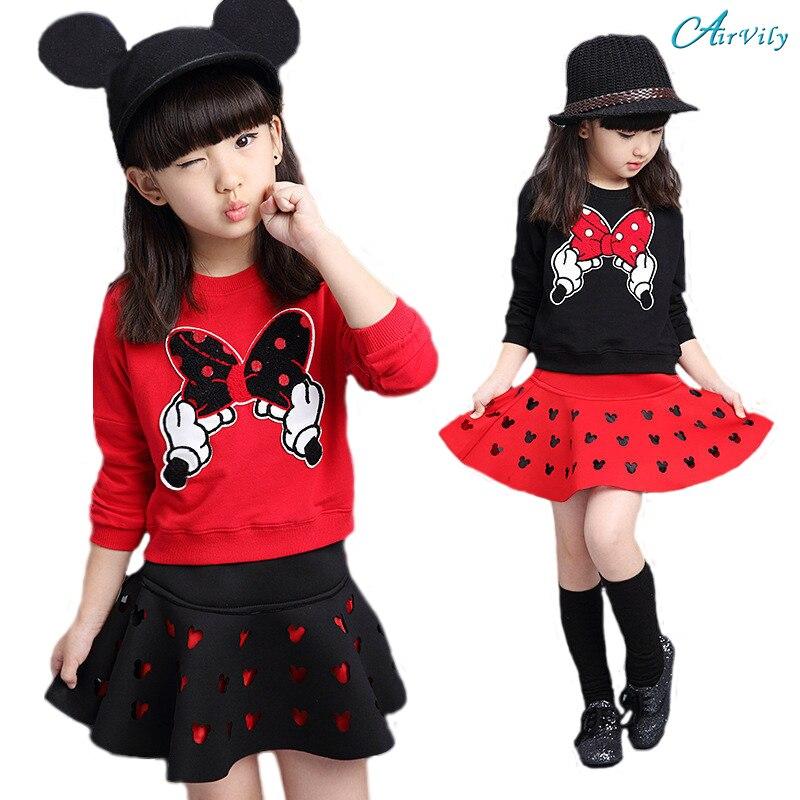 2017 New Cartoon Minnie Girls Clothes Suit Long-Sleeved T-shirt+Skirt 2pcs/Set Bow Kids Set Tracksuits Kids Clothes Sports Suit
