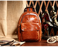 Free shipping 2016 casual vintage crazy horse leather backpack chest pack first layer of cowhide genuine leather backpack brown