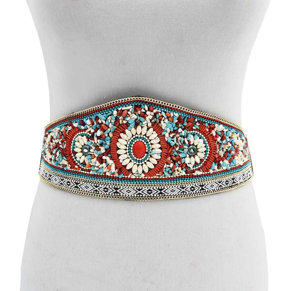 Ethnic Waistband Elastic for Women Boho Colorful Resin Beads Wide Dress Belts Gypsy Turkey Belly Waist Body Chain India Jewelry