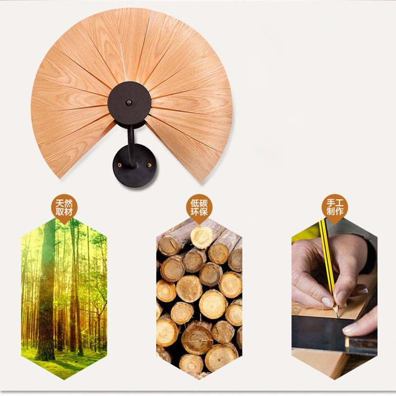 Bois naturel pour ventilateur/amour coeur abat jour mural lampe avec fer en métal nouvelle décoration style souutheast pour café bar