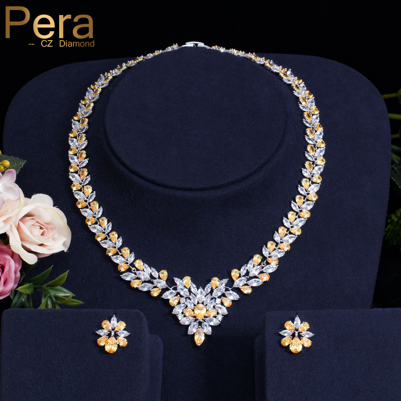 Pera CZ Luxury Women Wedding Yellow And White Stone Jewelry Accessories For Brides Big Leaf Shape Necklace And Earrings Set J167 a suit of vintage rhinestone leaf necklace and earrings for women page 3