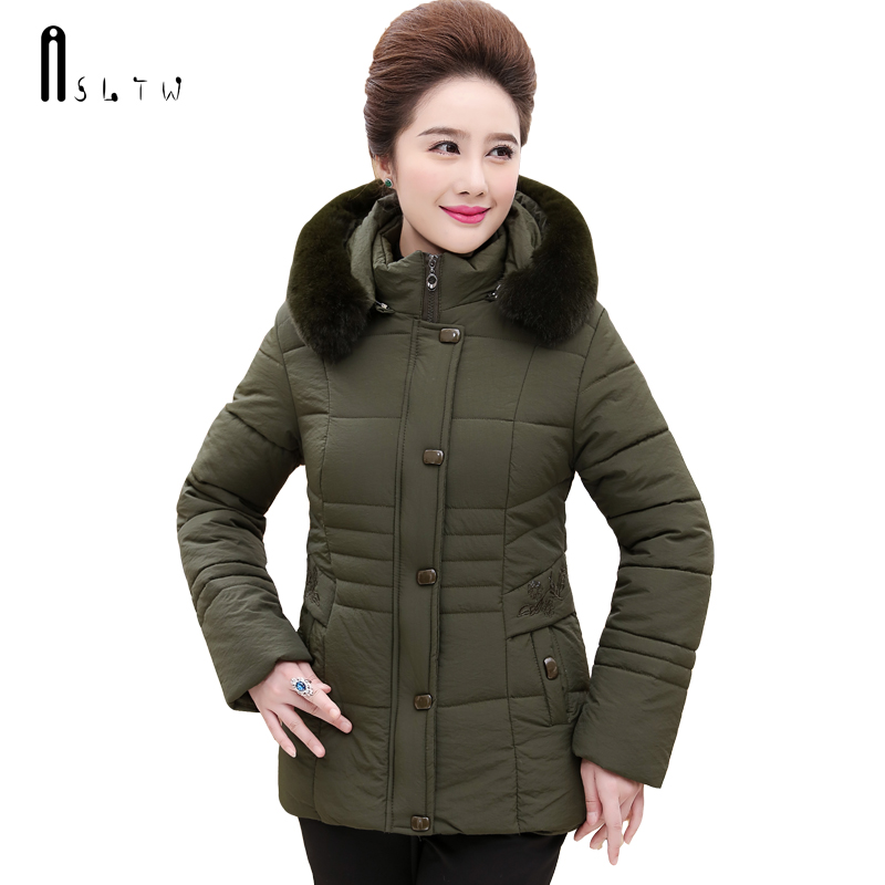 ASLTW Winter Coat Women 2017 New Casual Plus Size Solid Parka With Fur Hooded Full Sleeve Cotton Coat Female Jacket hot sale led downlights 7w 12w 15w round surface mounted ceiling lamps spot light white black ac85 265v pure nature warm white