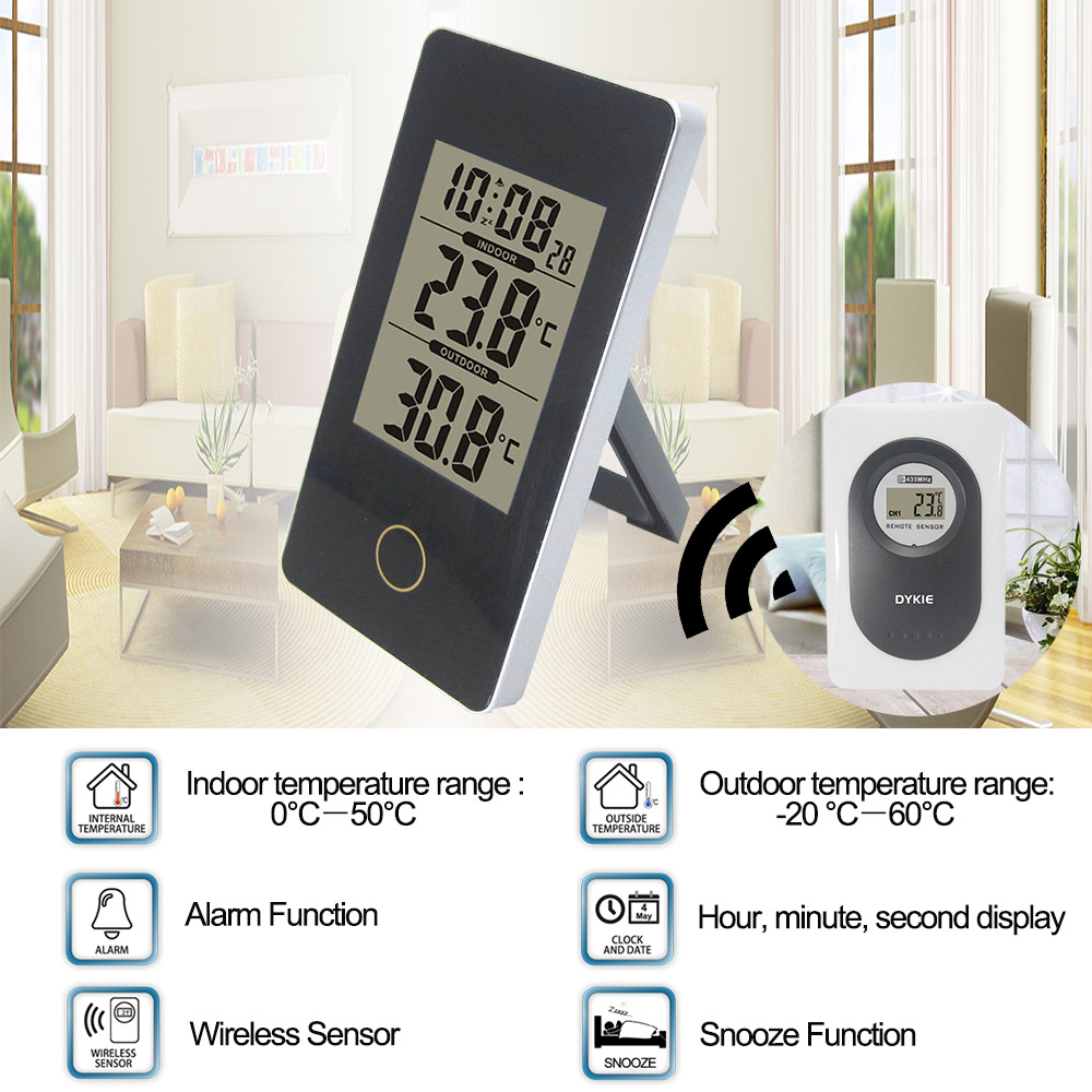 Wireless Weather Station Touch Screen Thermometer Hygrometer Indoor Outdoor  Wifi Weather Forecast Sensor Clock -20C-60C