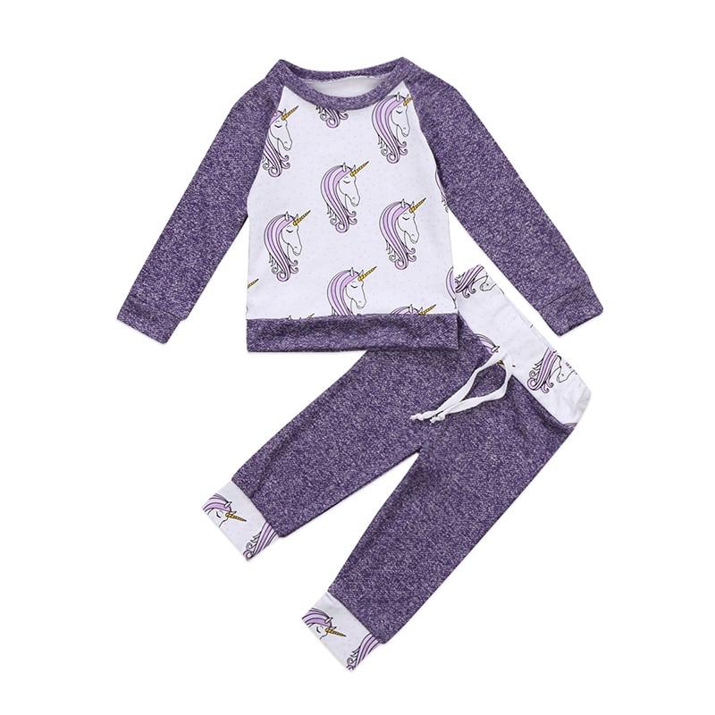 0-24 Mt Neugeborenen Einhorn Kleidung Langarm Pullover Tops + Lange Hose Hosen 2 StÜcke Bebek Giyim Outfit Kinder Kleidung Set