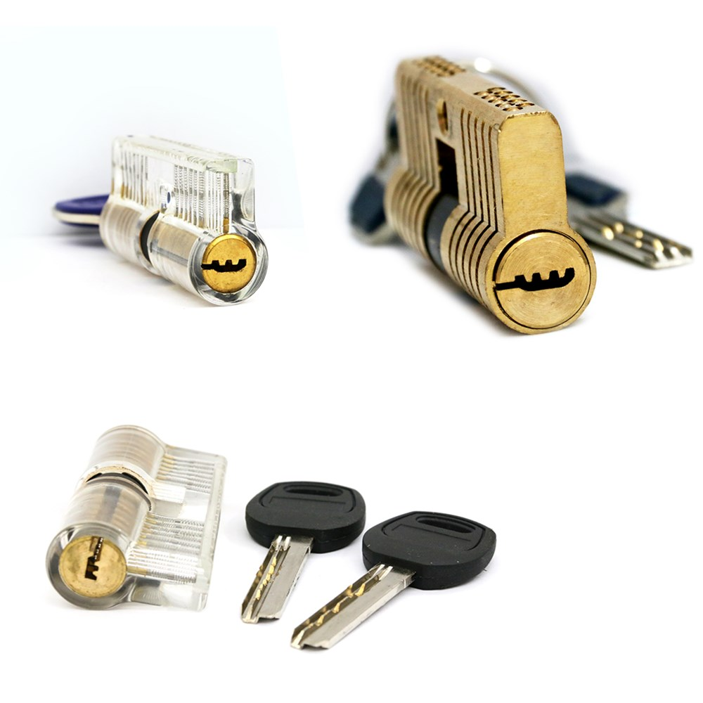 free shipping 3pcs lock one AB kaba lock,one crescent lock,and one double row lock for locksmith practice pick skill hot sale double cylinder kaba a full practice locksmith tools with 4 keys black