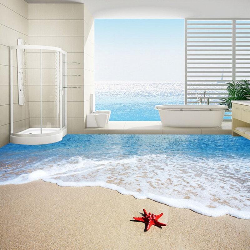 Custom Flooring Mural Wallpaper Beach Starfish Waves 3D Bathroom Floor Painting PVC Self-adhesive Waterproof Floor Sticker Mural