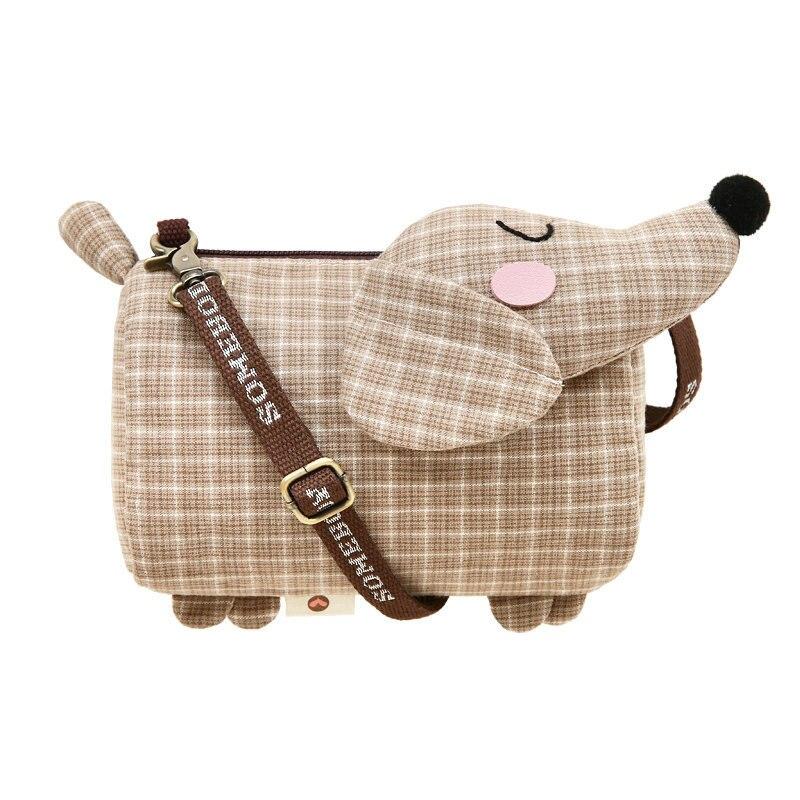 Coin Purse Messenger-Bag Cloth Lattice Small Dachshund Creative Women Dog-Design Casual