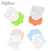 1PC Teethers Glove guante mordedera baby Safe Silicone Teether Candy color Wrapper Sound Teething Oral Care Chewable Nursing