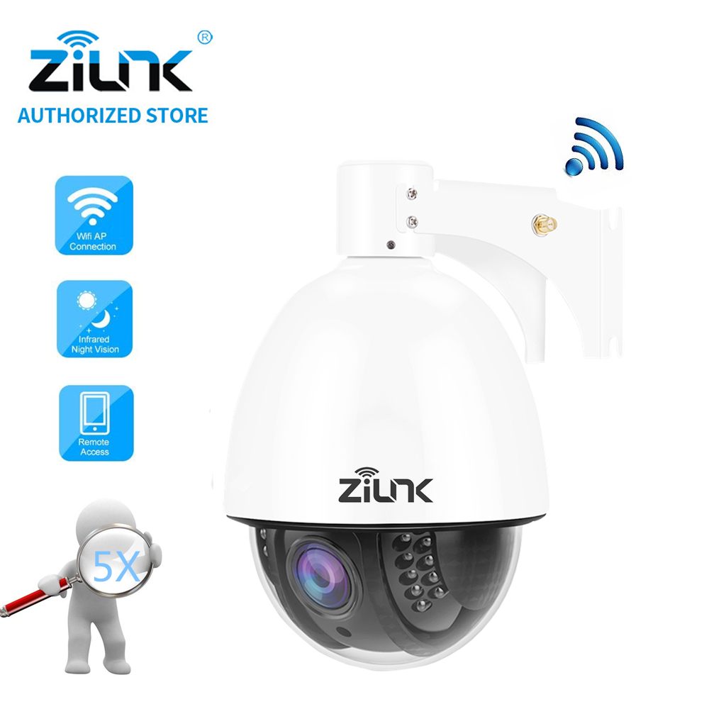 ZILNK Mini 960P PTZ Speed Dome Wireless IP Camera 5xZoom Waterproof WiFi CCTV Support TF Card