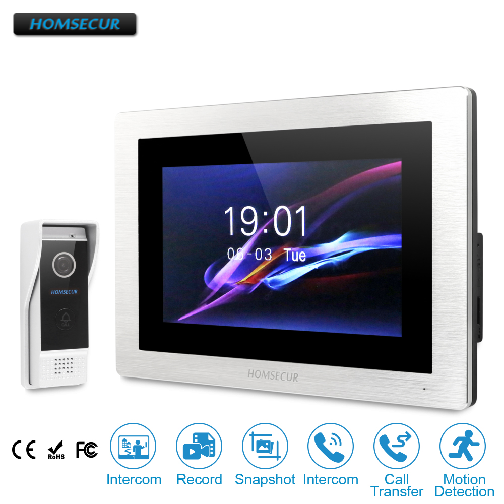 HOMSECUR 7 Hands-free Audio& Video Door Phone Intercom System Waterproof Camera Wide Angle 800TVL Touch Screen Memory Monitor