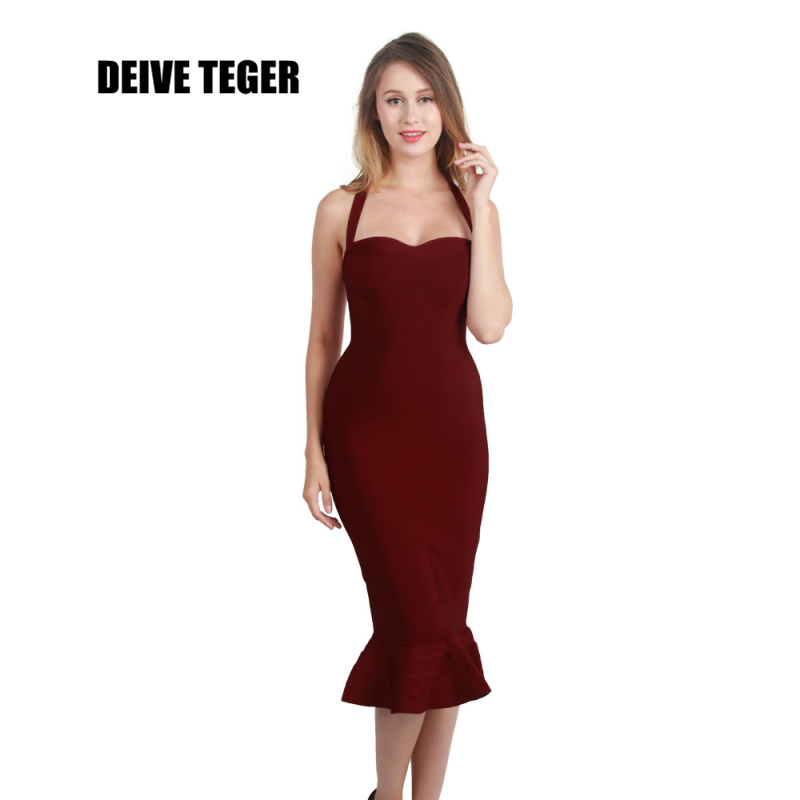 DEIVE TEGER  new arrival party dress Off The Shoulder Halter Sexy Bandage Mermaid Vestidos Women Knee-Length Dress HL2173