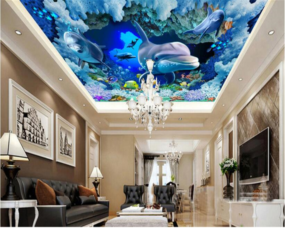 beibehang Advanced fashion fantasy three dimensional silk cloth wallpaper underwater marine animals zenith murals 3d wallpaper in Wallpapers from Home Improvement
