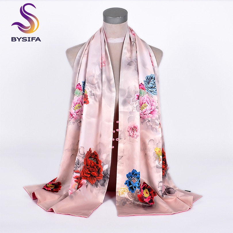 [BYSIFA] Silk Shawl   Scarf   2019 New Female Brand Pink Silk   Scarf   Cape Fashion Accessories Luxury Double Faces Women   Scarves     Wraps
