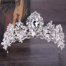 JaneVini Sparkling Jewelry Rhinestone Silver Bridal Crowns and Tiaras Crystal Diadem Princess Headbands Wedding Hair Accessories(China)