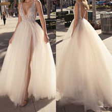 Open back sexy evening Dresses slit long A-Line V neck prom gown dress 2019 new year crystal Formal party dress Vestido De Noiva цена