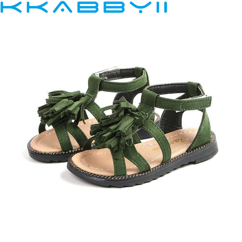 Brand Summer Beach Sandals Fashion Kids Sandals Children Leather Tassel Shoes Casual Sport Sandals For Little Girl