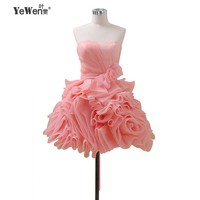 Yewen cocktail dresses 2018 Pink Burgundy Flowers Crysals Formal Party Cocktail Homecoming Dress Short Mini Prom Dresses