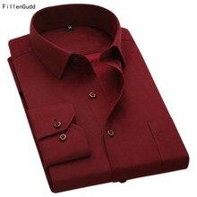 FillenGudd Plus size 8XL Lange Mouwen Effen Mannen Jurk Shirts Grote 7XL 6XL Wit Sociale Shirts Goedkope China Geïmporteerd Mannen kleding