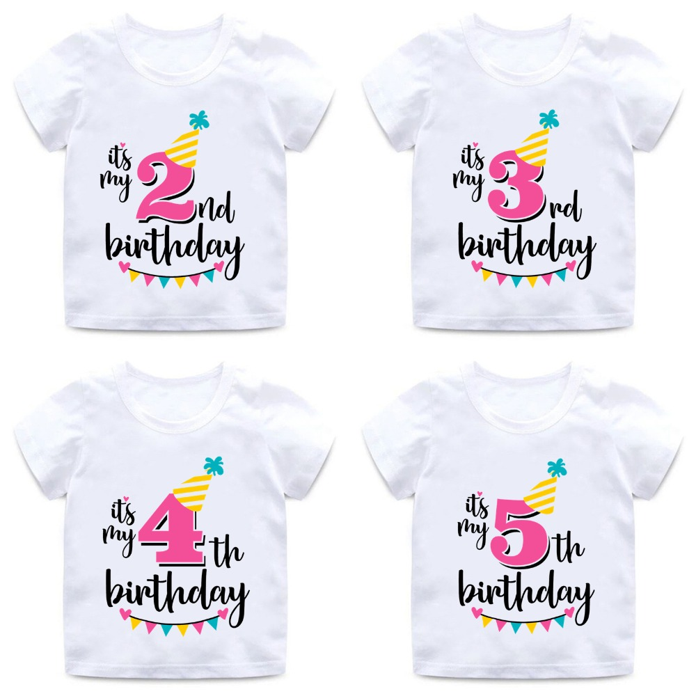 Kids Number T-Shirt Happy-Birthday-Number Print Girls Funny Summer Letter Cute 1-9 HKP2432