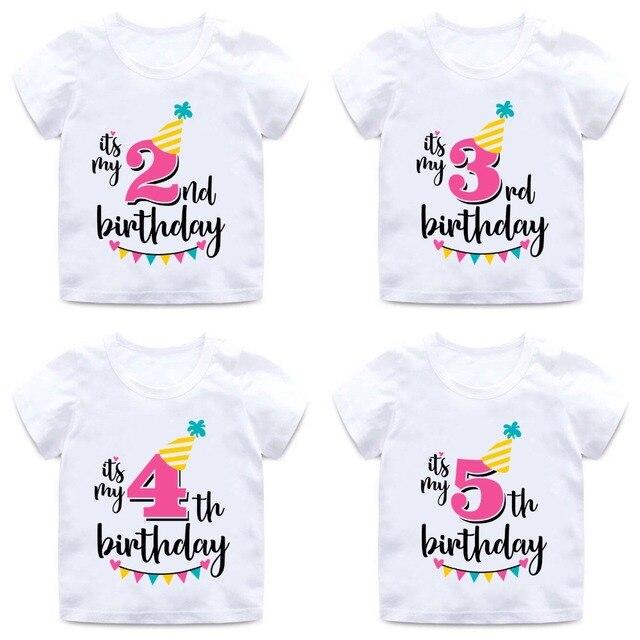 c96b74b0fb255 Filles Joyeux Anniversaire Nombre 1 9 Lettre Imprimer t shirt Bébé D ...