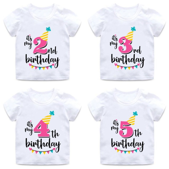 Girls Happy Birthday Number 1 9 Letter Print T Shirt Baby Summer Cute Clothes Kids Funny Gift ShirtHKP2432