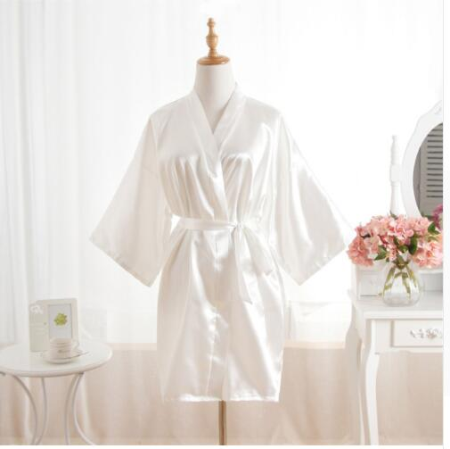 Woman Bathrobe Pajamas Silk Bridesmaid Bride Robe Sexy Women Short Satin Wedding Kimono Robes Sleepwear Nightgown Dress J-White
