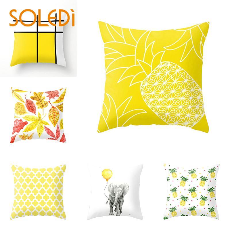 Throw Pillow Yellow Cushion Case Cushion Cover Sofa Cover Leaf Case Cars Pillowcase Drop Shipping