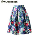 Z&KOZE 2016 New Retro Women's tutu Skirt Elastic High Waist Pleated Floral Leaf Print Midi Skirts Vintage Zipper Ball Gown