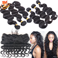 Cheap Brazilian Virgin Human Hair With Lace Frontal Closure Body Wave Lace Frontal With Remy Real Curly Weave Hair Extensions 7A