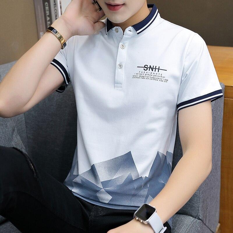 2019 premium brand Fashion Men summer pure cotton short sleeve   POLO   shirts/Male slim printing leisure   POLO   shirts Plus size 3XL