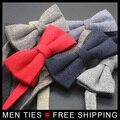 Мужская мода Формальное вязаный Шерстяной Шеи галстук Женатых мужчин платье лук Корейский жених groomsmen галстуки Мужской Британский Бизнес галстуки-бабочки