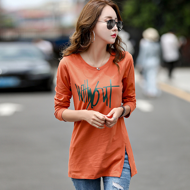 New Winter T Shirt Long Tunic Tops Long Sleeve T-shirts For Women Fashion Letter Print Cotton Female T-shirt Camisas Femininas