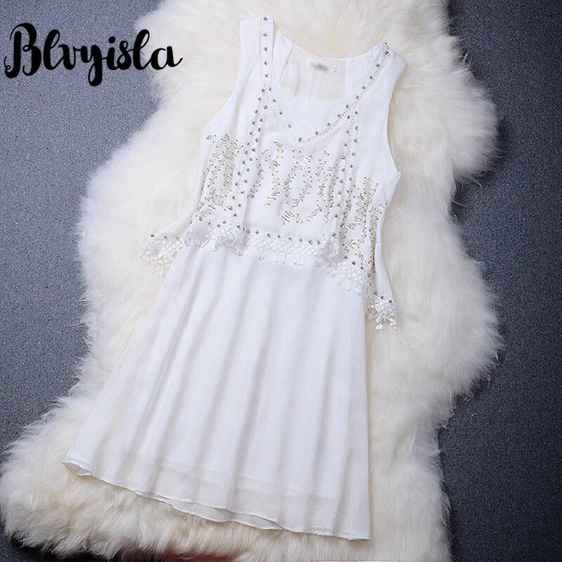 b1e855117de Robe Taille Dentelle Manches Gland Mini En Asie Mousseline Main Blanc D été Robes  Sans Blvyisla Douce Dame Perles Coudre qvptwUxS6