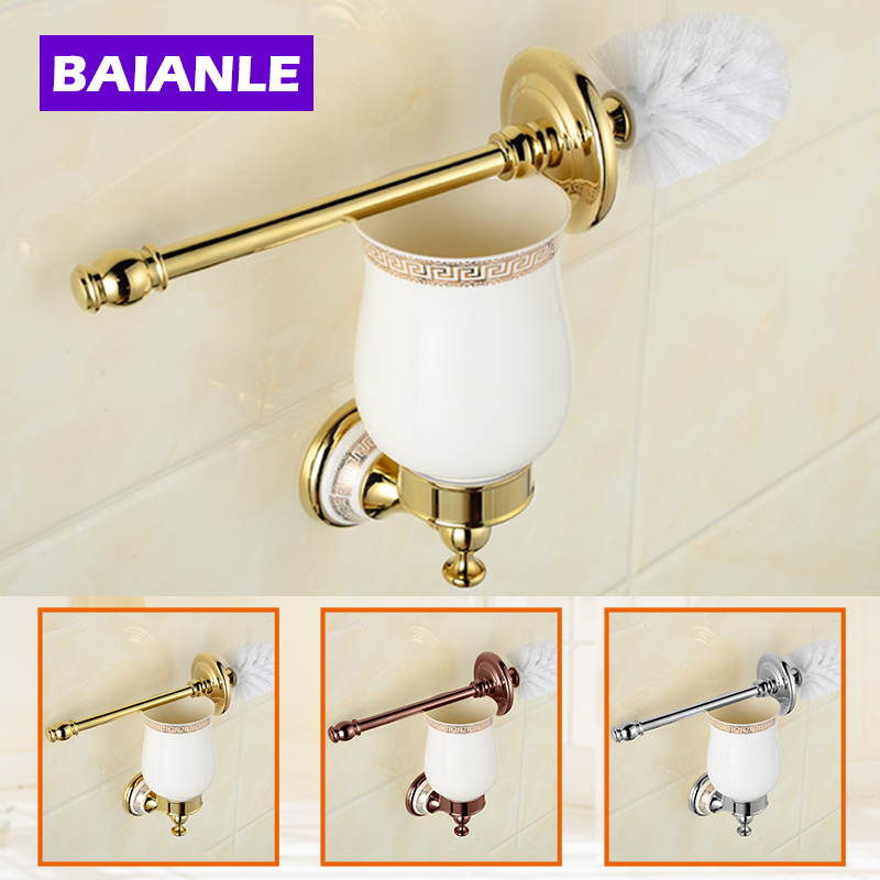 Free Shipping Wall Mounted Bathroom Accessories Brass & Ceramics Toilet Brush Holder,chrome Bathroom Products european luxury bathroom accessories antique bronze toilet brush holder bath products high quality free shipping