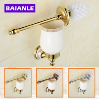 Free Shipping Wall Mounted Bathroom Accessories Brass Ceramics Toilet Brush Holder Chrome Bathroom Products