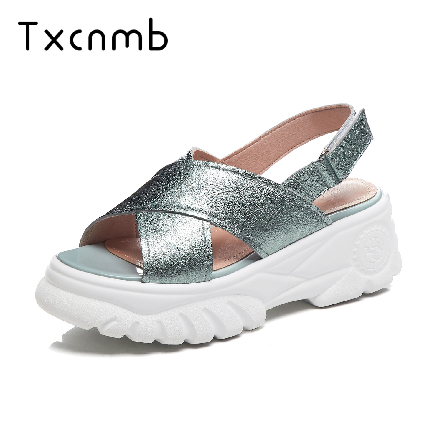 TXCNMB shoes woman 2019 summer Genuine leather sandals women shoes simple solid colors platform sandals casual