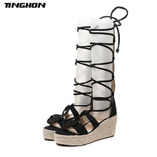 TINGHON Women Black Brown Lace Up Platform Sandals Peep Toe Wedge Espadrilles Women Ankle Strap Comfortable Women Sandals black rope women white slingback shoes lace up ladies strap sandals female wedge ankle espadrilles pumps tie closed toe designer