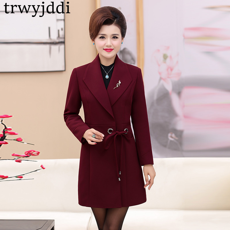 2019 New Mother Spring Autumn   Trench   Coat Middle-aged Women's Windbreaker Coats Plus Size 5XL N306