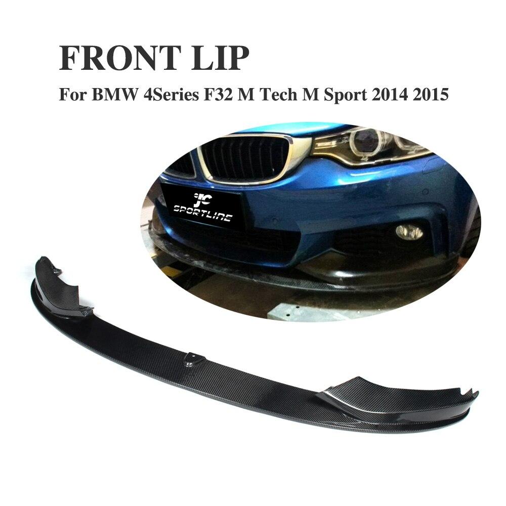 P style carbon fiber Front Bumper Lip Spoiler for BMW 4Series F32 M Sport M Tech bumper 2014-2015 Car Styling